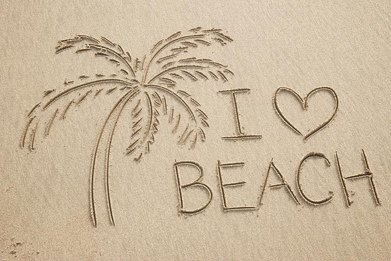 消息,棕榈树,海滩,心型,英文字母i,英文字母w,绘画插图,水平画幅,沙子,无人