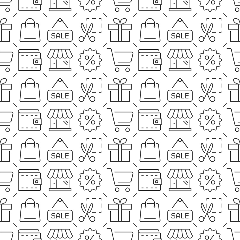 四方连续纹样,矢量,贺卡,加号,顾客,绘画插图,符号,购物车,商店