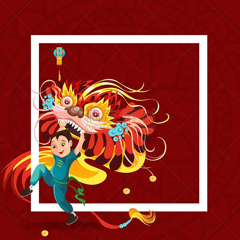 分离着色,龙,卡通,多色的,狂欢节,月亮,舞者,中国,绘画插图,矢量