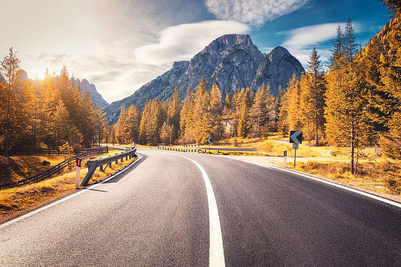 秋天,路,山,空的,橙色,岩石,天空,意大利,日光,地形