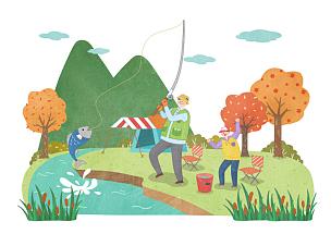 秋天,生活方式,插画,绘画插图,山,野餐,旅行的人,椅子,钓鱼,露营