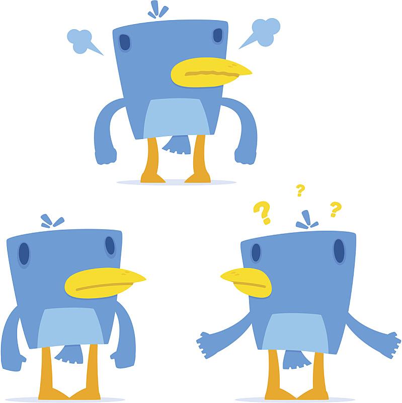 卡通,幽默,蓝知更鸟,可爱的,头痛,技术,动物,鸟类,面部表情,鸟鸣声