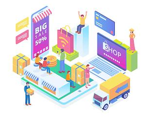 智慧,绘画插图,电子商务,技术,概念,现代,未来,水平画幅,顾客,社会化网络