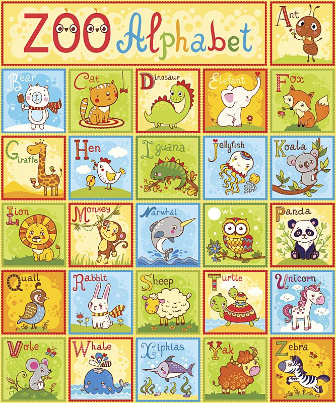 动物,矢量,字母,鹌鹑,斑马,鲸,长颈鹿,恐龙,休闲游戏,儿童教育