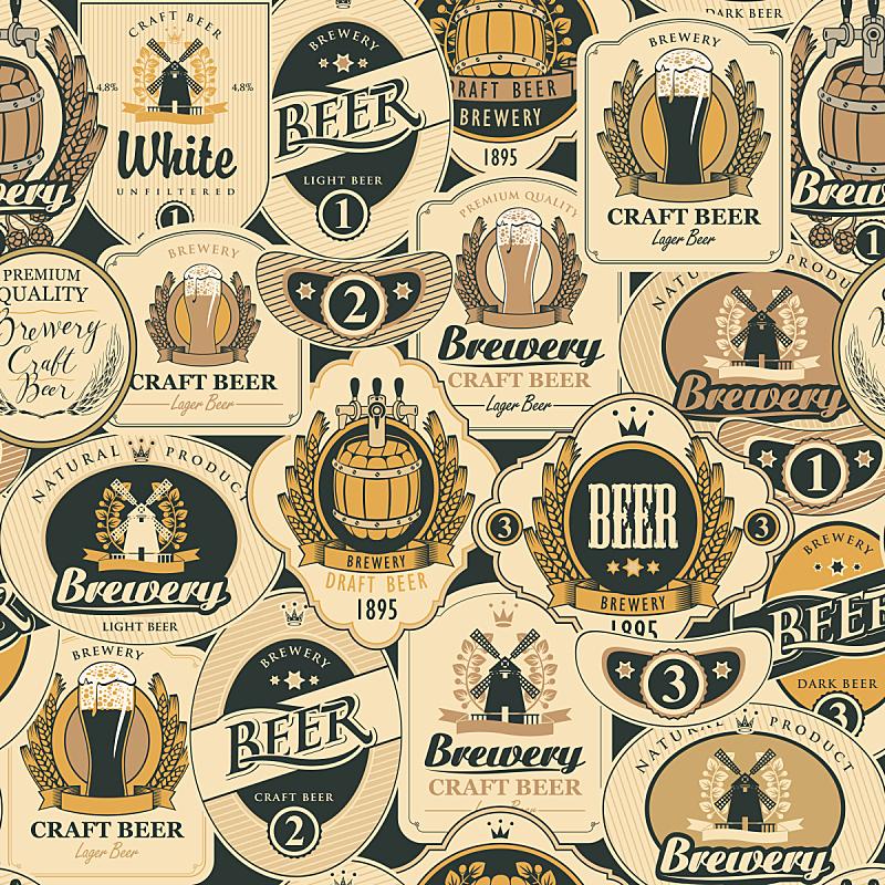 四方连续纹样,矢量,啤酒,多样,标签,纹理效果,啤酒节,绘画插图,符号,古老的