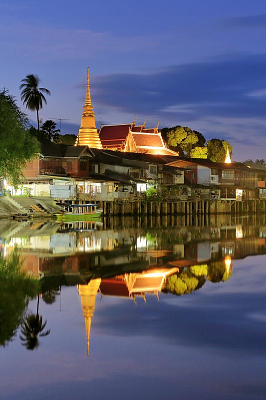 泰国,古老的,社区,滨水,传统,著名景点,夏天,户外,天空,旅行者