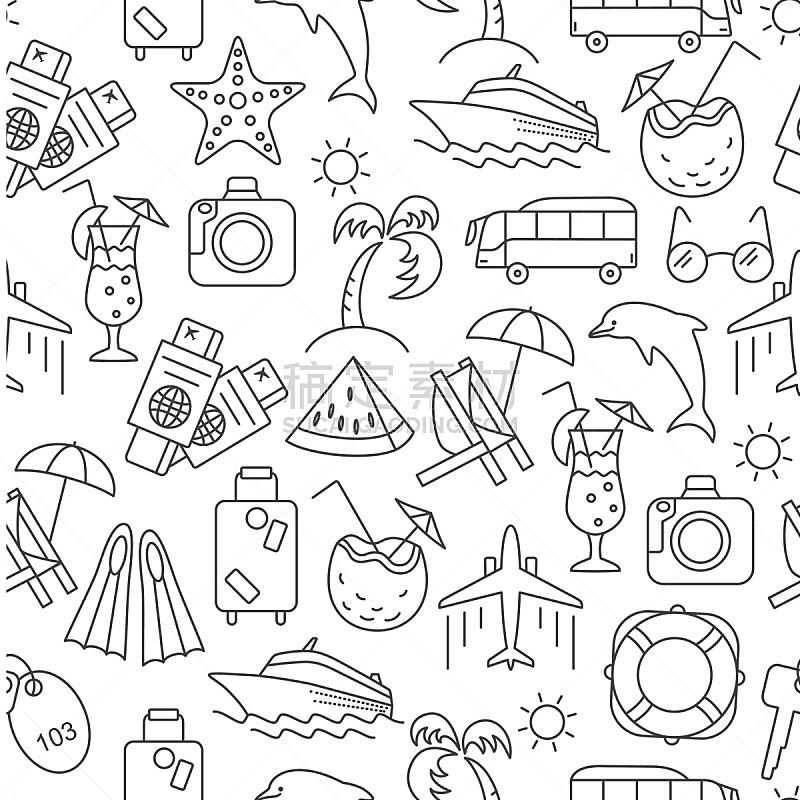 绘画插图,夏天,矢量,四方连续纹样,符号,取食签,海滩遮阳伞,调酒器,壁纸样本,四元素