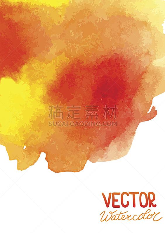 式样,抽象,水彩背景,湿,纹理效果,水彩画颜料,美术工艺,边框,橙色,模板
