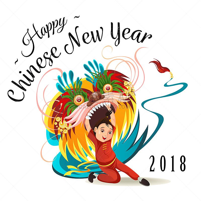 分离着色,龙,月亮,卡通,多色的,狂欢节,舞者,绘画插图,矢量,中国