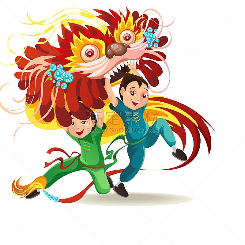 分离着色,龙,月亮,卡通,多色的,狂欢节,舞者,中国,绘画插图,矢量
