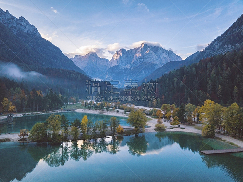 特里格拉夫国家公园,湖,秋天,风景,阿尔卑斯山脉,克拉尼斯卡?戈拉,地形,斯洛文尼亚,航拍视角,自然美