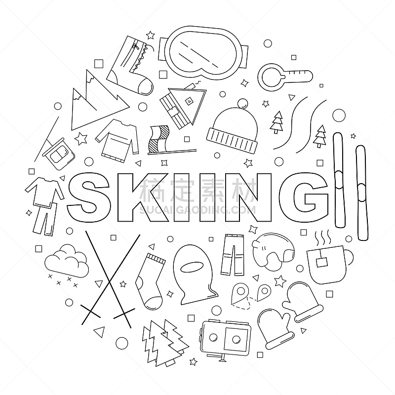 绘画插图,矢量,背景,滑雪运动,线图标,直的,式样,电缆,温度,袜子