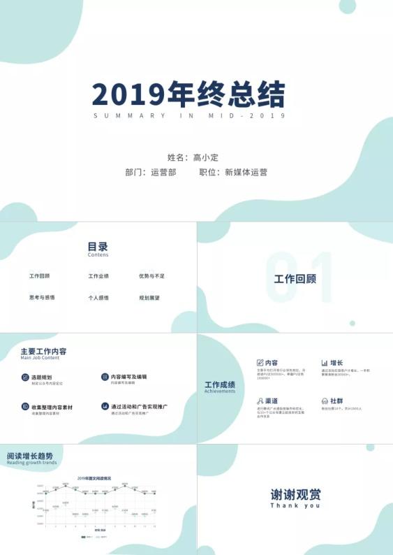 蓝绿清新  新媒体运营2019年终总结PPT