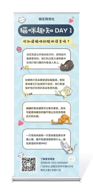 宠物/宠物科普/卡通简约/易拉宝
