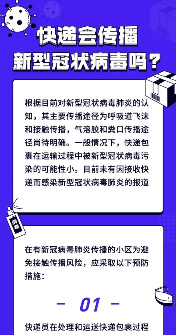 肺炎疫情快递是否会传染病毒科普文章长图