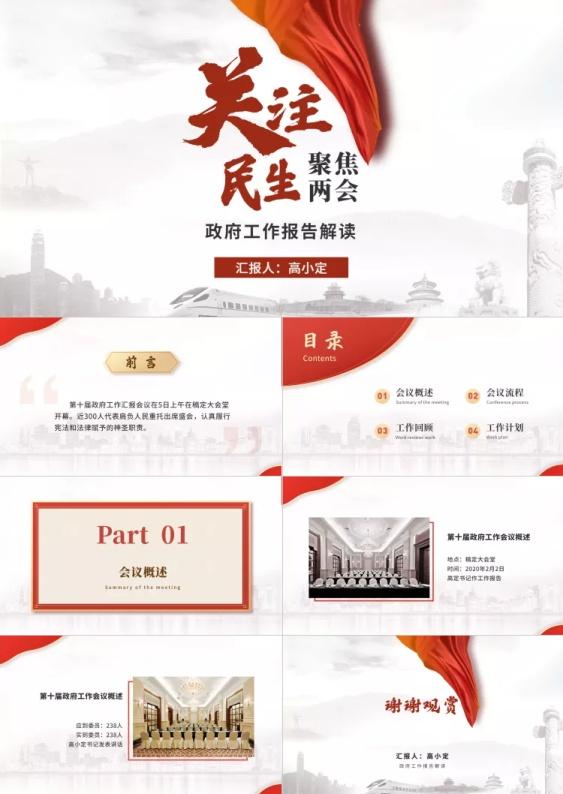 党政两会精神政府工作报告解读PPT