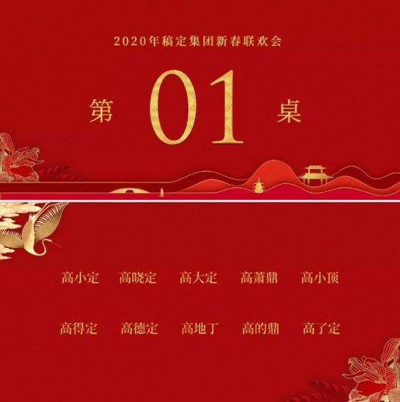 红金中国风共赢未来可印刷桌牌