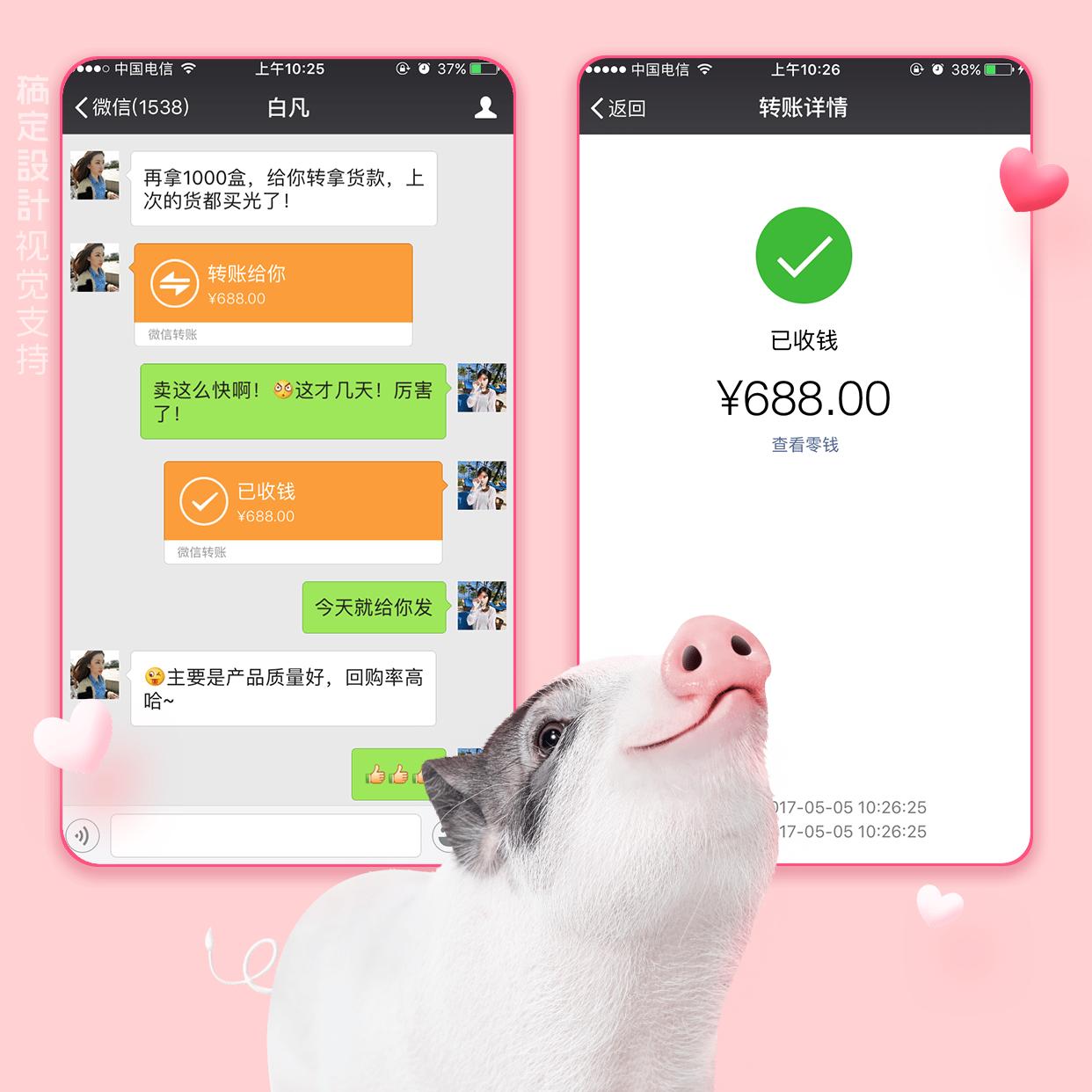 小香猪猪晒单方形海报