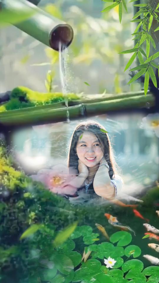 竹林流水融图